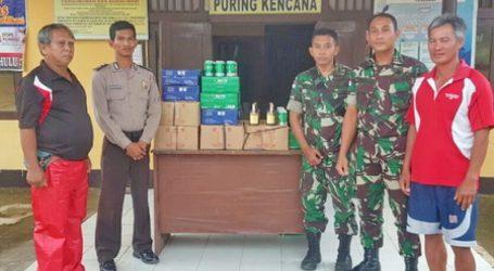 Satgas Pamtas RI-Malaysia dari Yonif 123/Rajawali Kembali Mengamankan Ratusan Botol Minuman Keras Selundupan Asal Malaysia
