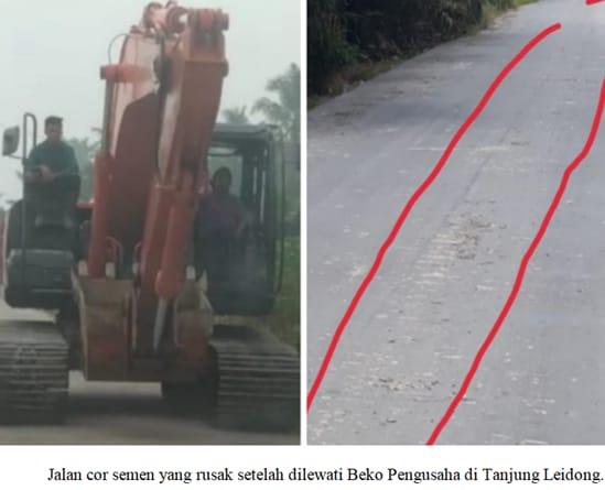 Komisi C DPRD Labura dan LSM PERKARA Desak Pengusaha Pemilik Beko Bertanggung Jawab Atas Rusaknya Jalan Cor Beton