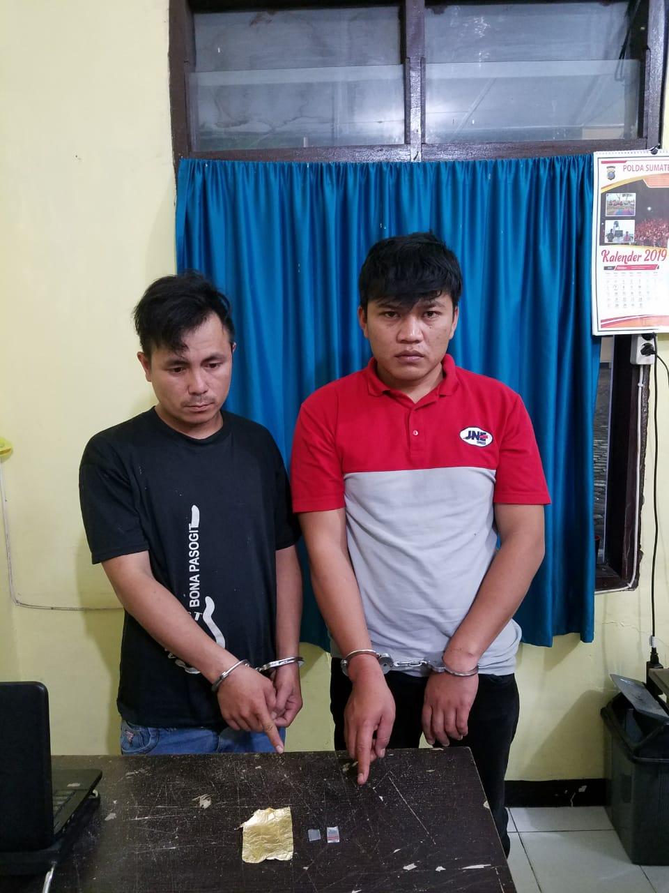 Dua Tersangka Narkoba Berhasil Disikat Polisi di Jalan Putri  Lopian, Desa Pearaja, Kecamatan Tarutung