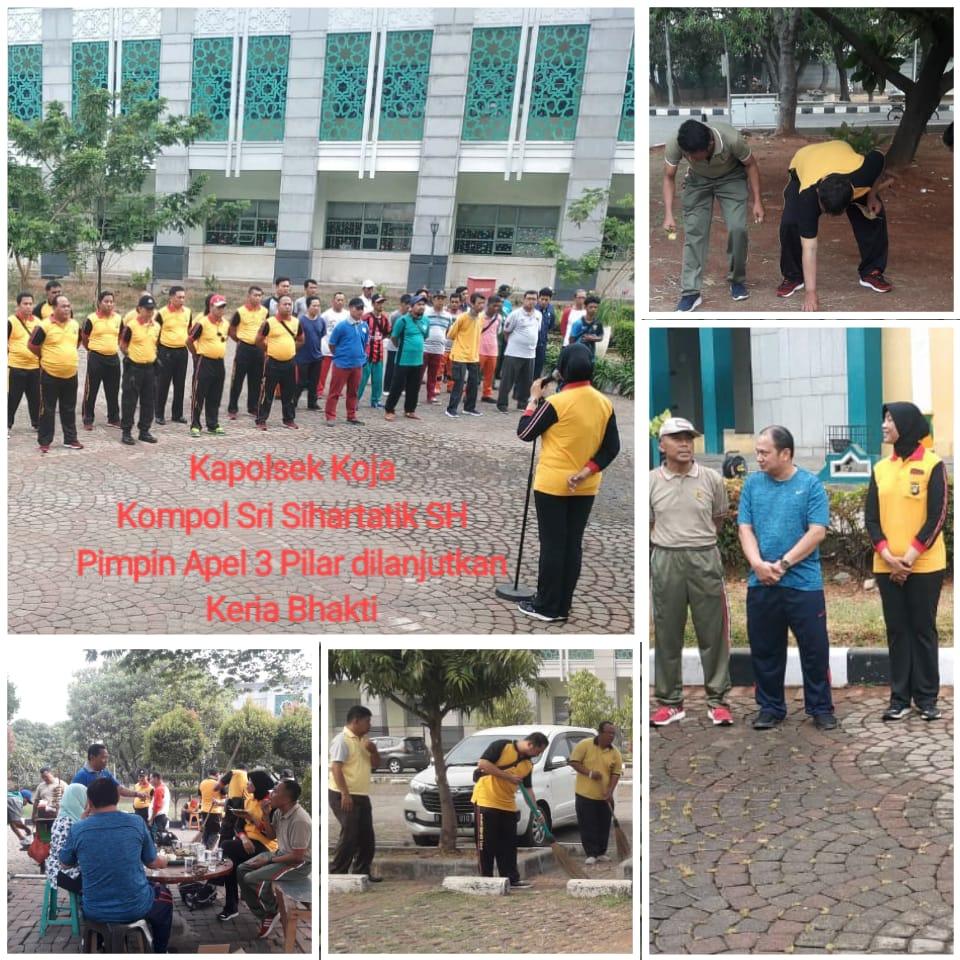 Kapolsek Koja Kerja Bakti Bersama Tiga Pilar di JIC