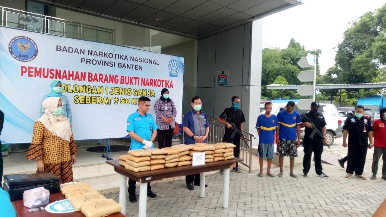 BNNP Banten Jalankan Amanah Undang-Undang Musnahkan Setengah Kwintal Ganja