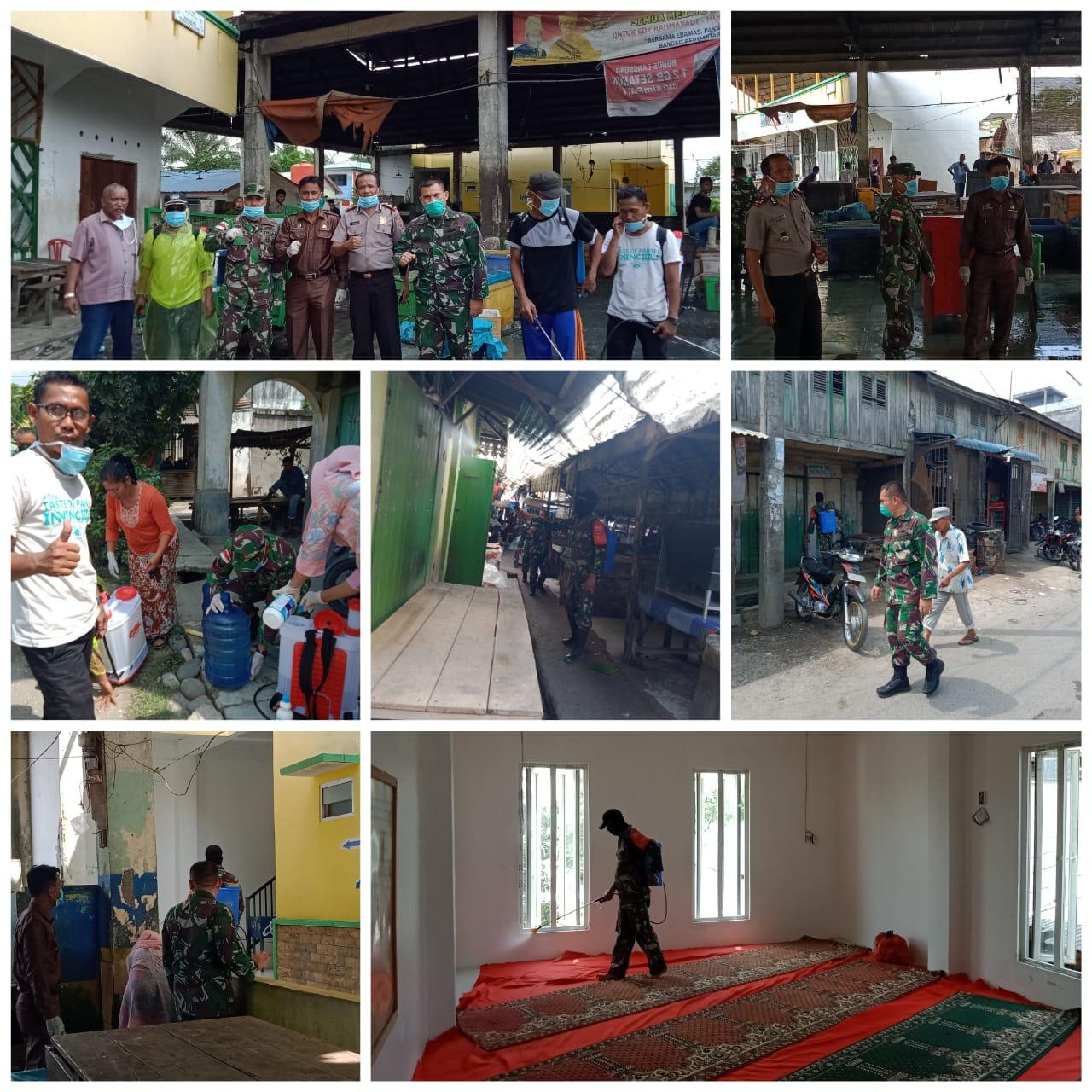 Cegah Penyebaran Dan Memutus Mata Rantai Wabah COVID-19, Seluruh Muspika Kecamatan Tanjung Beringin Semprotkan Desinfektan