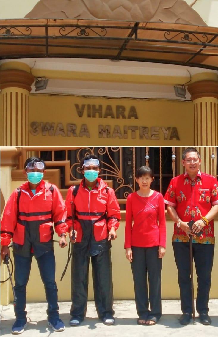 Wong Chun Sen Lanjutkan Penyemprotan Cairan Disinfektan Ke Rumah-Rumah Warga