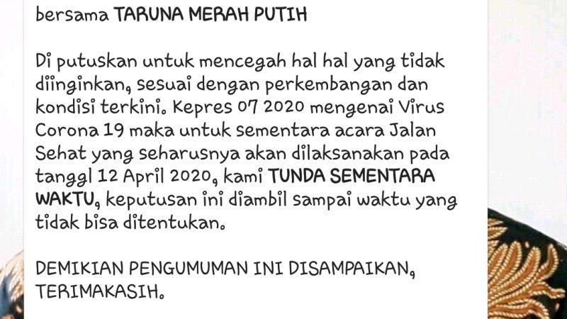 Antisipasi Virus Corona, Jadwal Kegiatan Kirab Kebudayaan dan Jalan Sehat Taruna Merah Putih Kota Medan Diundur