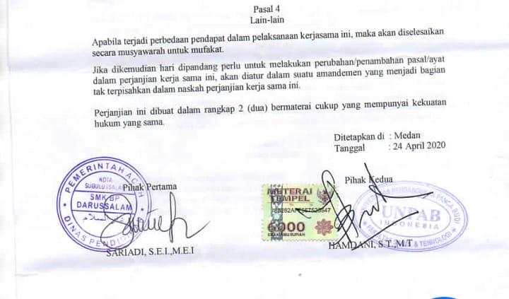 SMK Berbasis Pesantren Subulussalam Jalin Kerjasama Dengan Universitas Panca Budi