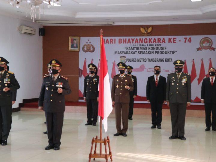 Kapolres Metro Tangerang, Danrem 052 Wijaya Krama dan Pimpinan Muspida Upacara Virtual