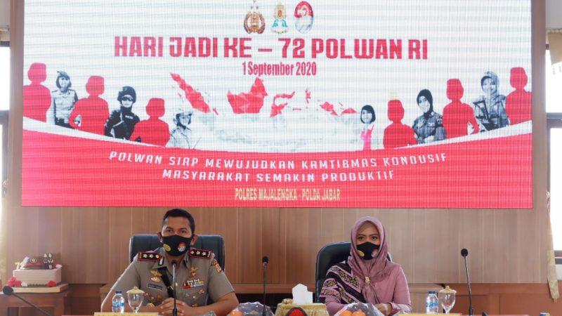 Polwan Polres Majalengka Ikuti Vicon Dalam Rangka Syukuran Hari Jadi Polwan ke-72