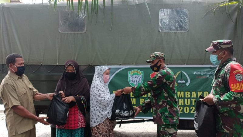Peringati HUT TNI ke 75 Kodim 0116/Nagan Raya Bagikan Sembako