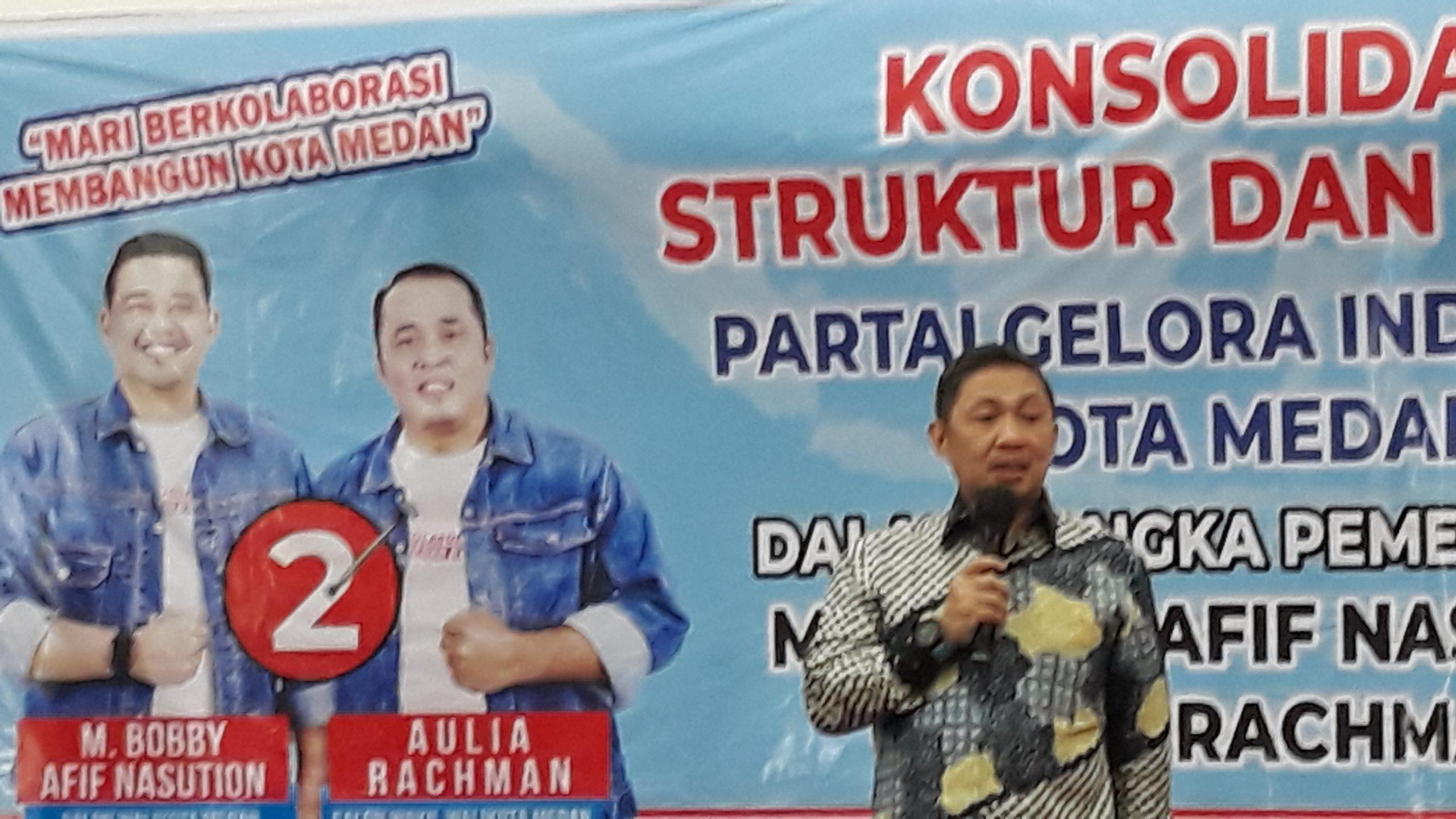 Ajak Seluruh Kader Menangkan Bobby-Aulia, Ketum Partai Gelora Indonesia Datang Ke Kota Medan