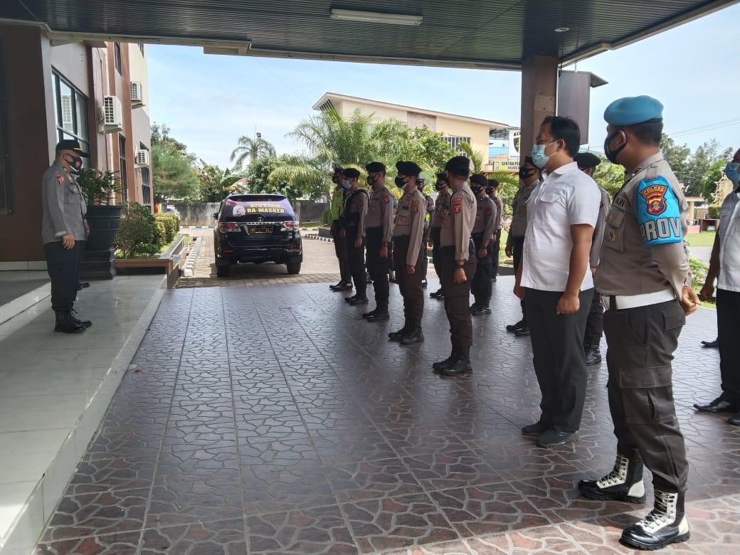Sejumlah Personil Polres Kukar Apel Pengamanan Kampanye Terbatas