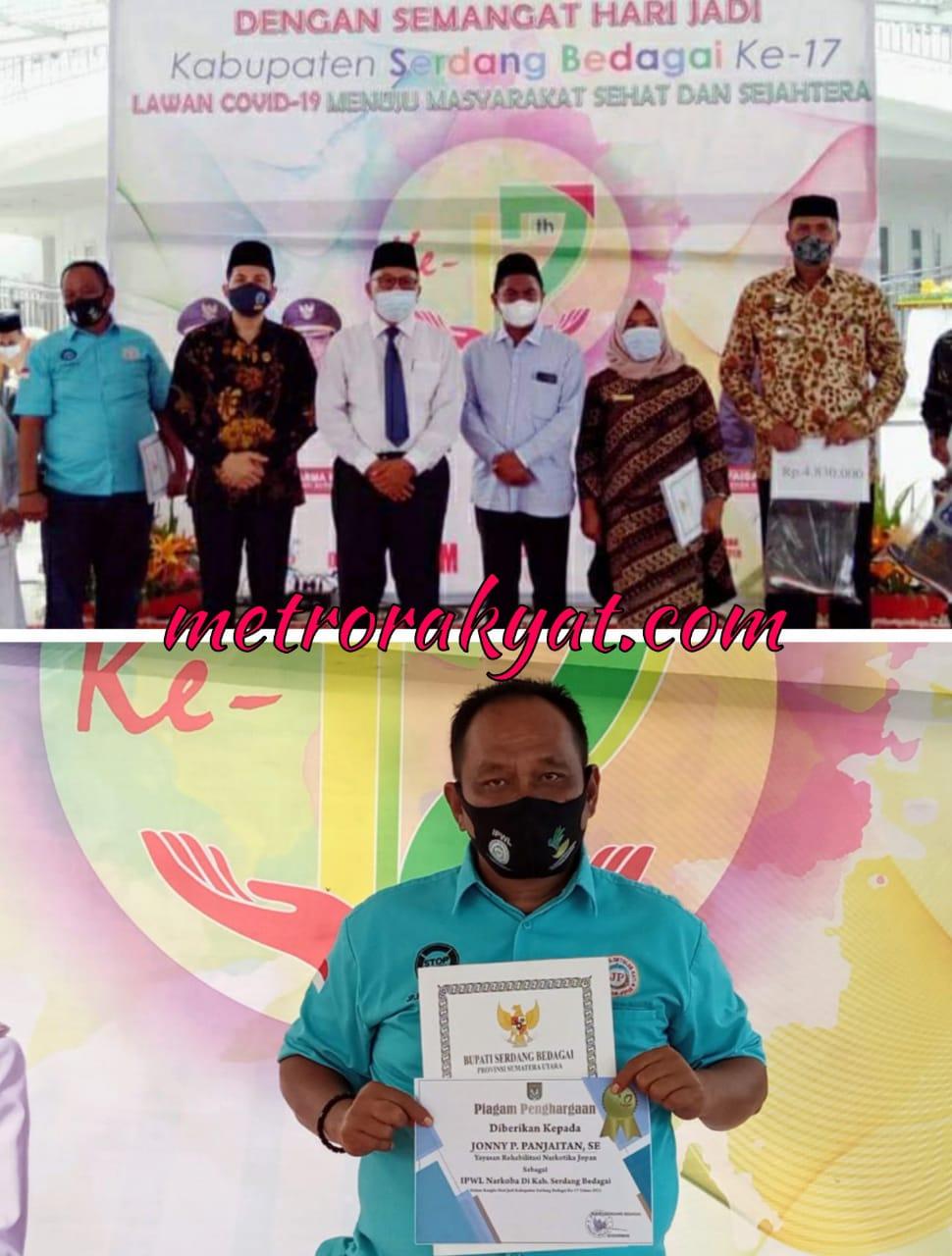 """Yayasan """"JOPAN"""" Menerima Piagam Penghargaan Sebagai IPWL Narkoba di Kabupaten Sergai"""