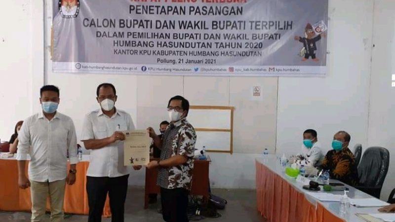 Dosmar Banjarnahor dan Oloan P. Nababan Ditetapkan Menjadi Bupati dan Wakil Bupati Kab. Humbang Hasundutan Terpilih